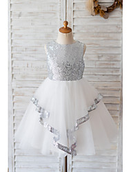 cheap -Ball Gown Knee Length Wedding / Birthday Flower Girl Dresses - Tulle / Sequined Sleeveless Jewel Neck with Bow(s)