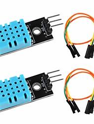 cheap -2pcs DHT11 Temperature Humidity Sensor Module Digital Temperature Humidity Sensor 3.3V-5V with Wires for Arduino Raspberry Pi 2 3