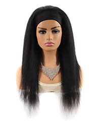 cheap -22 inch Headband Wig Headgear Mixed Real Hair Wig Long Hair Headgear YAKI Silk Black Straight Hair Wig Headgear Black Ladies Color Hairband