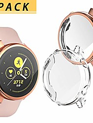 cheap -[2 pack]  samsung galaxy watch active 40mm case, tpu scratch-resist frame protective cover shell full coverage screen protector for samsung galaxy watch active 40mm accessories,clear+champagin