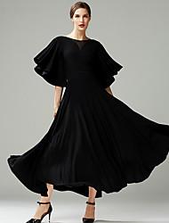 cheap -Ballroom Dance Dress Split Joint Women's Performance Half Sleeve Crystal Cotton