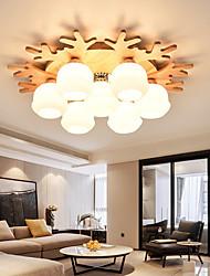 cheap -3 5 7 Heads LED Ceiling Light  Deer DesignWood Chandelier Nordic Rubber Dining Room Lamp Study Bedroom E27 E26 Base Lamp Holder