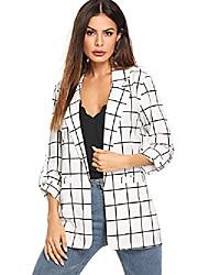 povoljno -ženska povremena otvorena jakna, lagana karirana košulja sa zavojnim rukavima, bijela x-velika