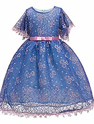 cheap -girls floral lace flower girl fancy princess summer dress short sleeve 2-10year, blue, 6-7 years