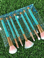 cheap -7 pcs makeup brushes set + bag,  liquid sequins synthetic kabuki foundation blending blush eyeliner face powder makeup brush kit beauty cosmetic tools (green)