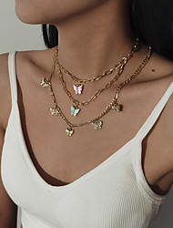 cheap -Women's Choker Necklace Necklace Drop Butterfly European Romantic Sweet Fashion Acrylic Chrome Gold 21-50 cm Necklace Jewelry For Wedding Street Gift Birthday Party Festival