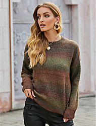 cheap -Women's Basic Striped Color Block Pullover Long Sleeve Sweater Cardigans Crew Neck Fall Winter Brown