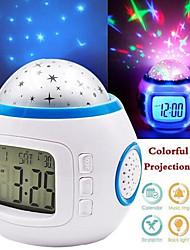 cheap -Bedroom LED Digital Alarm Clock Starry Sky Kids Alarm Baby Room Calendar Thermometer Night Light Projector