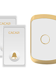 cheap -CACAZI Waterproof Wireless Doorbell Self-powered No battery LED Light Home cordless doorbell  2 Button 1 Receiver