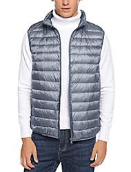 cheap -men's lightweight down packable vest jacket alternative zipper outerwear vests for winter grey