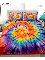 cheap -Tie Dye Duvet Cover Set Black Orange Blue Psychedelic Swirl Pattern Boho Hippie Boys Girls Bedding Sets(Include 1 Duvet Cover and 1or 2 Pillowcases)