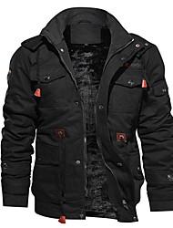 cheap -Men's Zipper Hooded Jacket Regular Solid Colored Daily Basic Long Sleeve Cotton Black Army Green Khaki M L XL XXL / Loose