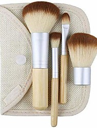 cheap -blush liquid foundation brush 4pcs/lot premium makeup brushes sets bamboo brush foundation brush make-up brushes cosmetic face powder brush for makeup beauty tool facial brush (color : clear)