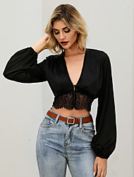 cheap -Women's Crop Top Solid Colored Long Sleeve Lace Patchwork V Neck Tops Lantern Sleeve Slim Sexy Basic Top Black