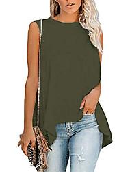 cheap -women's summer sleeveless crew neck t-shirt tunic tank tops high low blouse shirts arm green