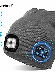 cheap -usb bluetooth music hat led beanie cap, lighting & flashing modes, built-in stereo speaker and mic, headlamp headphone beanie christmas gift, unisex winter warm knit cap for sports outdoors