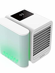 cheap -portable personal air cooler, 3 in 1 air space conditioner, mini usb fan evaporative spray humidifier purifier with led, portable desk cooling fan for home room office outdoor