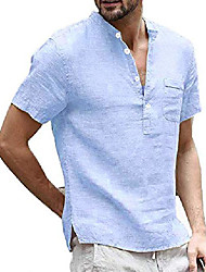 cheap -mens short sleeve linen henley shirt summer casual banded collar beach t shirts lightweight plain tops sky blue