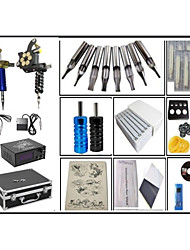 cheap -Fine steel casting Large coil 10 layers of copper wire 2 Machines  liner & shader Tattoo Kit w/ Power Supply 50 tattoo needles 100 Ink cup