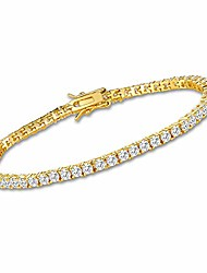 cheap -3mm cubic zirconia tennis bracelet for women 18k gold plated cz bracelets for men girls 7.5in