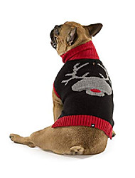 cheap -reindeer dog turtleneck dog sweater - black red acrylic dog clothing medium