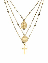 cheap -layered necklace gold virgin mary coin gold plated tag coin station chain valentine's day couples vintage gold pendant sweater jewelry for women girls