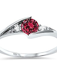 cheap -sterling silver new round simulated simulated ruby solitaire fashion ring sizes 8