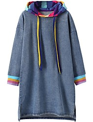 cheap -Kids Little Girls' Dress Solid Colored Patchwork Light Blue Knee-length Long Sleeve Basic Dresses Loose