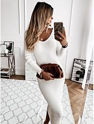 cheap -Women's Sweater Jumper Dress Midi Dress - Long Sleeve Solid Color Backless Patchwork Fall Winter V Neck Elegant Slim 2020 White Black Khaki S M L XL