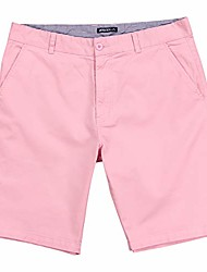 cheap -mens flat front stretch 10 inch inseam shorts & #40;light pink, size 32& #41;