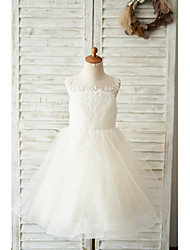 cheap -Ball Gown Knee Length Wedding / Birthday Flower Girl Dresses - Lace / Tulle Sleeveless Jewel Neck with Buttons / Appliques