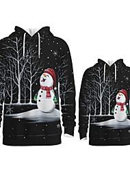 cheap -Daddy and Me Active Santa Claus Snowman Graphic 3D Print Print Long Sleeve Regular Hoodie & Sweatshirt Black