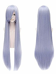 cheap -39inch/100cm women long straight anime silver and light purple wig with bangs for warugiria sarutobi ayame halloween cosplay synthetic hair wigs