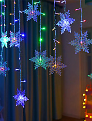 cheap -1X Colorful Xmas Snowflake LED String Lights Flashing Lights Curtain Light IP65 Waterproof Holiday Chritsmas New Year Party Connectable Wave Fairy String Light AC110V 220V EU US Plug
