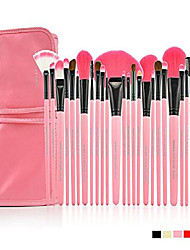 cheap -24pcs professional cosmetic makeup brush set kit with synthetic leather case(rose)