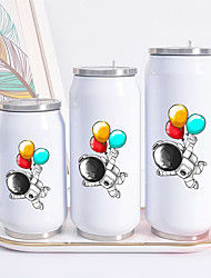 cheap -Astronaut Print Cans Thermo Flask Tumbler Thermos Termo Coffee Mug Water Bottle Termo Cafe Travel Outdoor Straw Bottle