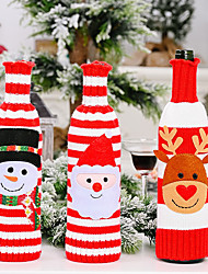 cheap -2pcs Christmas Ornament Striped Knitted Wine Bottle Set Cartoon Old Man Wine Bottle Bag