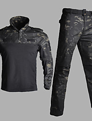 cheap -Men's Camo Shirt Hunting Shirt with Pants Outdoor Windproof Breathable Wearproof Soft Winter Spring Autumn Clothing Suit Nylon Hunting Outdoor Training Camouflage Color Camouflage Black / 2pcs