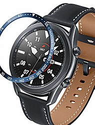 cheap -compatible with samsung galaxy watch 3 45mm bezel ring styling bumper, metal case adhesive cover for samsung galaxy watch 3 45mm accessories (c-blue)