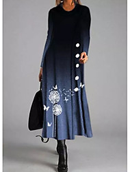 cheap -Women's Shift Dress Maxi long Dress - Long Sleeve Animal Button Print Fall Winter Casual 2020 Blue M L XL XXL 3XL