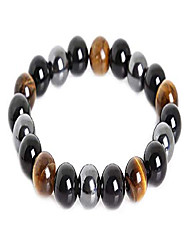 cheap -triple protection bracelet for protection bring luck and prosperity hematite black obsidian tiger eye stone bracelets (10mm)