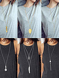 cheap -6 pcs long pendant necklace for women simple bar layer three triangle tassel y charm necklace set
