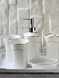 cheap -Bathroom Accessories Set, 6 Piece Ceramic Complete Bathroom Set for Bath Decor, Includes Toothbrush Holder, Soap Dispenser, Soap Dish, Tray, 2 Tumbler  Holiday Bathroom Decoration Gift Idea