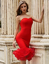 cheap -Sheath / Column Sexy bodycon Party Wear Cocktail Party Valentine's Day Dress Strapless Sleeveless Knee Length Spandex with Ruffles 2021