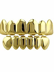 cheap -24k gold plated hip hop punk custom fit teeth grillz caps top & bottom grill set removable (gold)