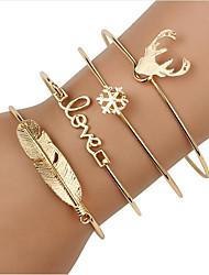 cheap -4pcs Women's Wrap Bracelet Bracelet Pendant Bracelet 3D Vintage Theme Fashion Alloy Bracelet Jewelry Gold / Silver For Christmas Halloween Party Evening Gift Date