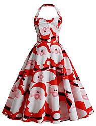 cheap -Women's Swing Dress Midi Dress White Black Red Yellow Wine Green Sleeveless Print Backless Print Fall Halter Neck Elegant Vintage Christmas 2021 S M L XL XXL