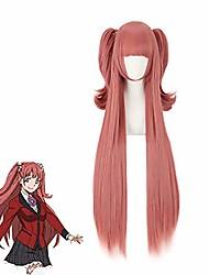 cheap -anime yumemite yumemi cosplay wig 100cm/39.37'' kakegurui compulsive gambler red wig hair with two pigtails cosplay costume for halloween
