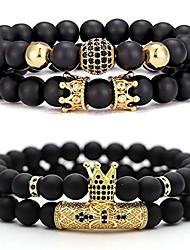 "cheap -4 pcs 8mm crown king charm beads bracelet for men women natural black matte onyx stone beads father's day gift, 7.5"""