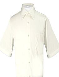 cheap -100% cotton men's short sleeve solid cream color dress shirt size 4xl